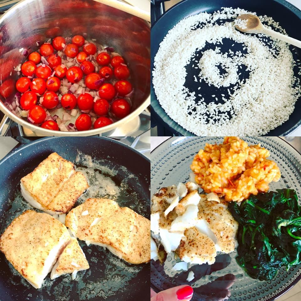 Tomatenrisotto met gebakken kabeljauw